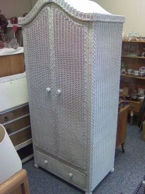 White wicker wardrobe £150.00 free delivery within Worthing